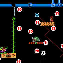 Beanstalk (21) grows, allowing Hero to climb and leap over to Platform (22). Platform begins to descend toward inevitable drop into Flaming Chasm.