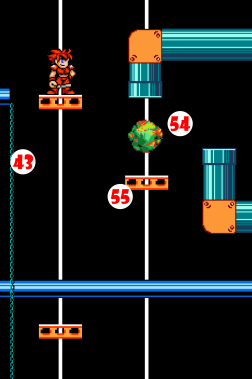 Green Marble (54) emerges from Pipes and falls onto Elevator Platform (55), causing right-hand platforms to sink and left-hand platforms to rise.