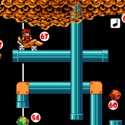 A second later, the Red Marble (62) flies from a different Pipe, rebounds against a Springboard (63), and flies back through the Pipe it emerged from, striking a different Music Block (64) and eliciting a different tone.