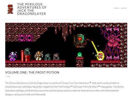 This is the landing page for Perilous Jack and the Frost Potion. The header image is one of the five random headers that loads each time a page is viewed. The image is from Perilous Jack and the Cloud Castle.