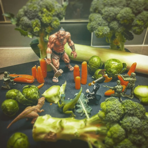 The Dirt Cheap Suicide Squad battles a Cyclops in the brassica forests that carpet the northern hemisphere of Venus.