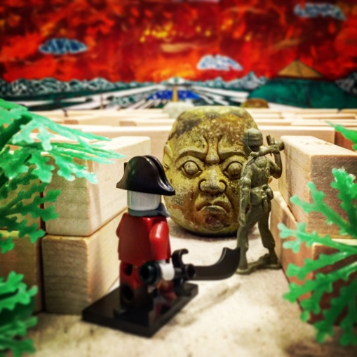 """Jack and Captain Sturgeontrousers approach the Intractable Cephalith together. Although the men of the DCSS and the zombies of the pirate ship Wastrel are rivals for the prize of the Savage Arena, the stone statue guarding the entrance is an obstacle in both their paths. As they draw near, the Cephalith awakens. """"If you would enter the Arena, O brave contestants, you must each answer a riddle."""""""
