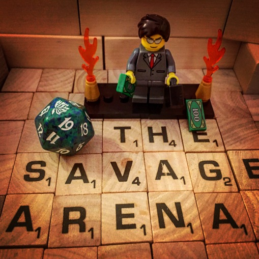 "The floor of the Arena shakes and the tiles separate, revealing a smoking chasm below. A platform rises from the chasm, and suddenly amid fountains of flame and flurries of cash, a malevolent figure in a tailored suit appears. Next to him is a large twenty-sided die. ""Greetings, Savage Arena challengers!"" cries the man in the suit. ""I am the Jerk in Charge! Before me lies the Die of Fate! This (I swear) totally impartial instrument will determine the conditions of your combat in the Savage Arena! Step forward and let pure chance decide your fate!"""