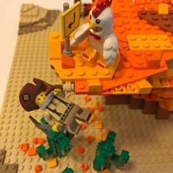 Uh oh! Looks like the Chicken wins this round. That's going to be a prickly landing for the Prospector.