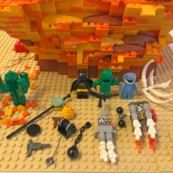 Here's all the accessories included with Gravity Hill - the Sound Effect Boom, Portable Hole, Jackhammer (sold by the dozen), Beehives (10 to the case), Slingshot, Winch, Ball and Chain, Personal Helicopter, Rocket-Powered Backpack (with optional Robot Arms), Bat-Suit, Cactus Suit, and Shark Suit!